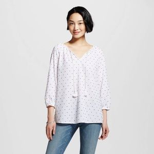 MERONA / Swiss Dot White Peasant Blouse